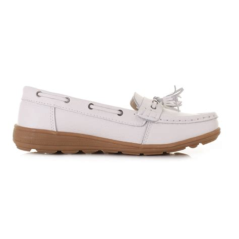 womens flat comfort leather loafers casual boat shoes