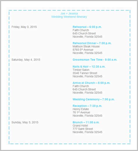 bridal itinerary template wedding itinerary template 40 free word pdf documents
