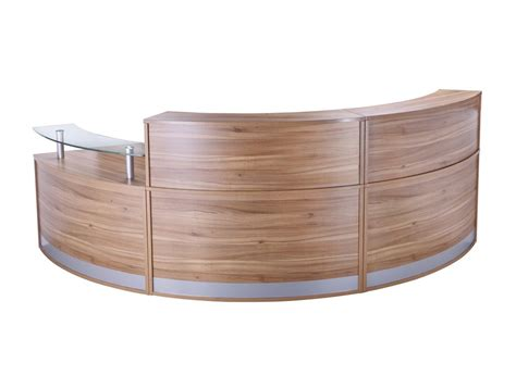 Semi Circle Reception Desk Elite 3 Section Semi Circle Reception Unit In Black Walnut