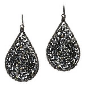 Teardrop Chandelier Earrings Black Teardrop Beaded Chandelier Earrings
