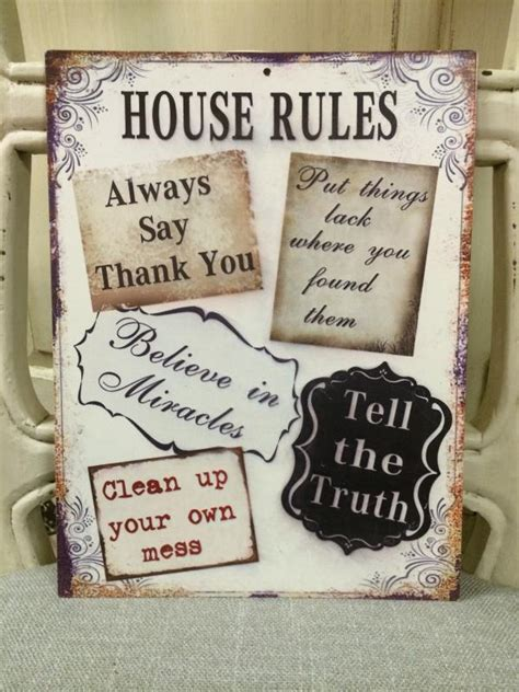 shabby chic house rules metal tin sign mulberry moon