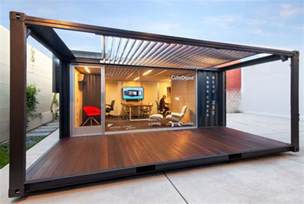 Me ou shipping container office front view industrial home
