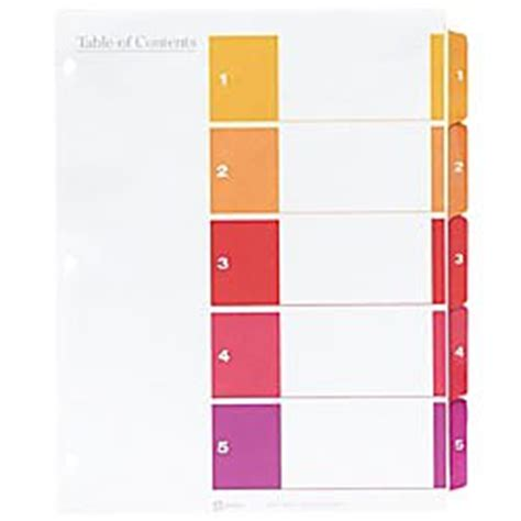 avery ready index landscape table of contents dividers 5