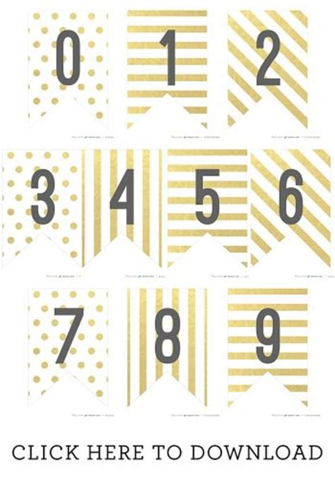 printable number line banner free printable gold banner numbers somewhat simple