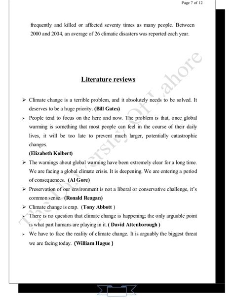 Global Warming Review Of Literature global warming assignment