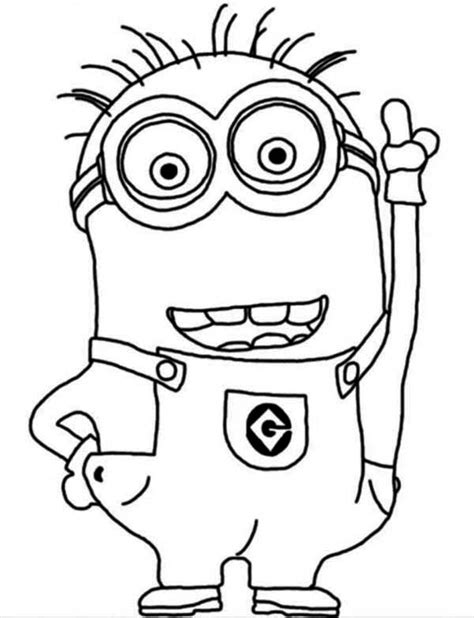 Crazy Dave The Minion Coloring Page   Printable Coloring