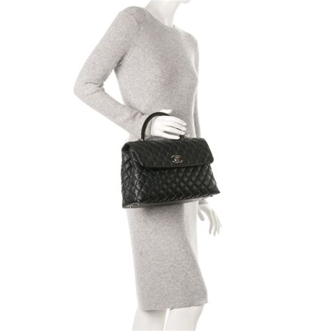 coco handle medium size chanel caviar lizard quilted medium coco handle flap black