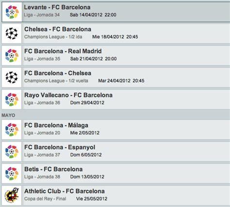 Calendario Barca Calendario De Partidos Fc Barcelona Temporada 2011