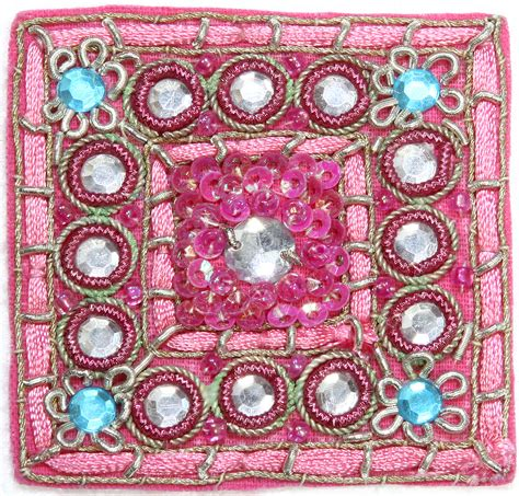 beadwork pink pink embroidered square patch with beadwork