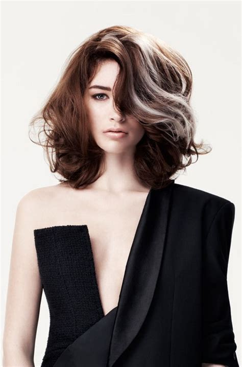 modern black hairstyles with a streak of grey interesting haircolor technique women actually adding
