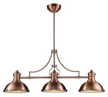chadwick industrial antique copper kitchen pendant elk 66145 3 chadwick 47 inch long antique copper finish