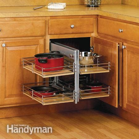 How To Make Use Of Corner Kitchen Cabinets Small Kitchen Space Saving Tips The Family Handyman