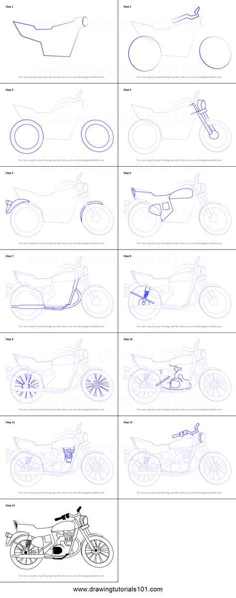 how to make doodle step by step how to draw a motorcycle printable step by step drawing