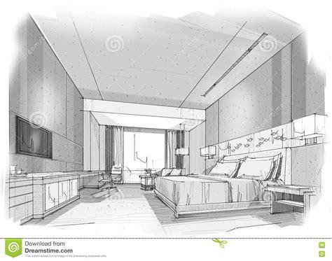 interior perspective of a bedroom sketch interior perspective stripes bedroom stock