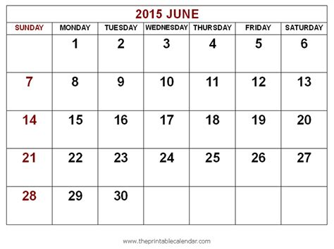 free printable planner june 2015 7 best images of blank june 2015 calendar printable