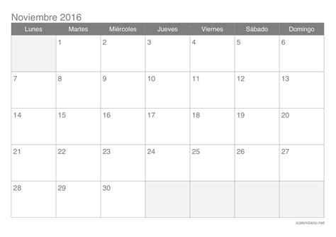 Calendario Noviembre 2016 Calendario Noviembre 2016 Para Imprimir Icalendario Net