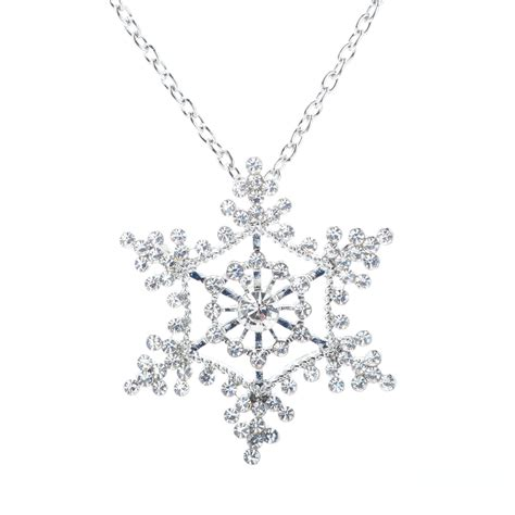 Rhinestone Snowflake Necklace silver rhinestone lace snowflake pendant necklace