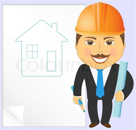 Builder House Plans by Cartoon Engineer With House Project Pencil And Ruler