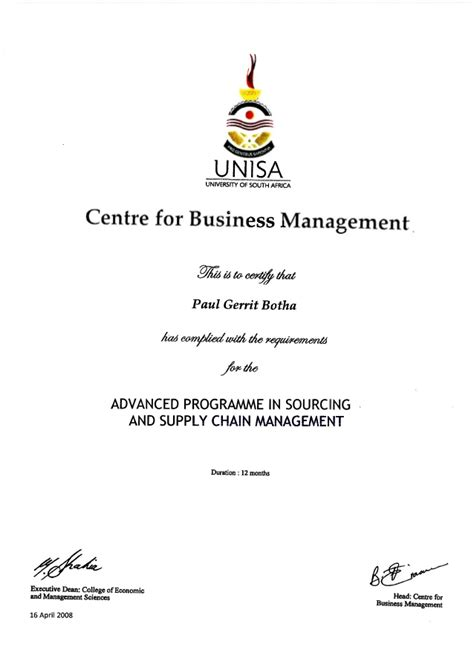 Mba Ukzn 2018 by Certificate In Supply Chain Management Unisa Best Chain 2018