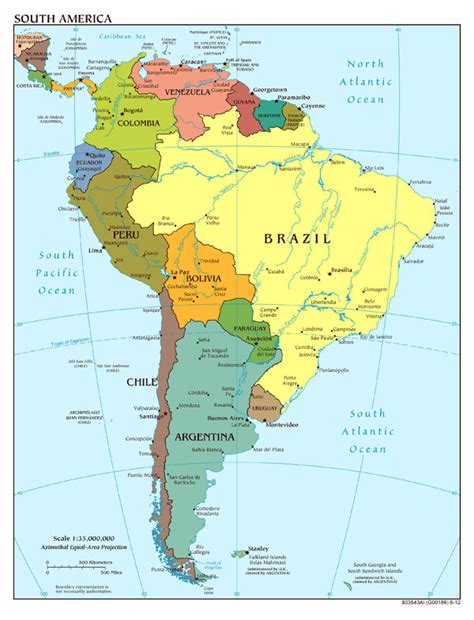 south america major cities map detailed political map of south america with capitals and