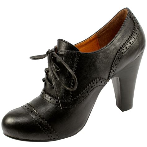 womens brogue high heel lace up ankle shoe boots 3 8