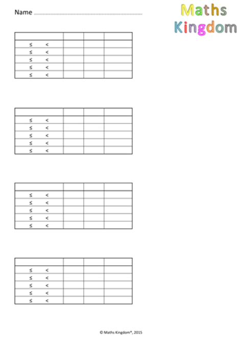frequency card templates from frequency tables card sort by uk teaching