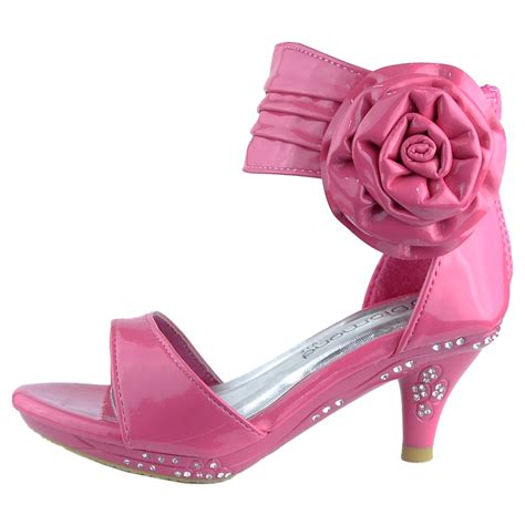 kid high heels dress sandals patent flower rosette pageant high