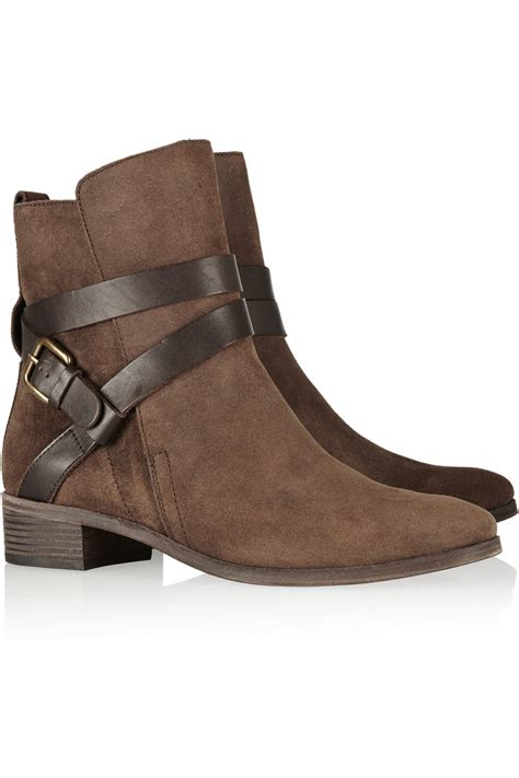 see by chlo 233 buckled suede ankle boots in brown lyst