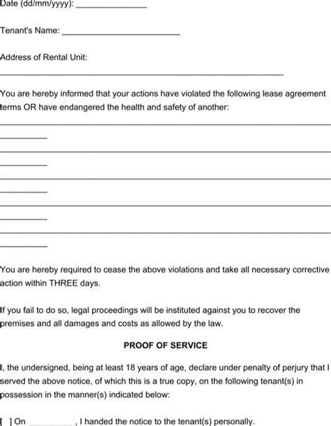 serving notice to tenants template eviction notice to tenant template for free