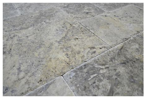 silver brushed chiseled french pattern travertine tiles