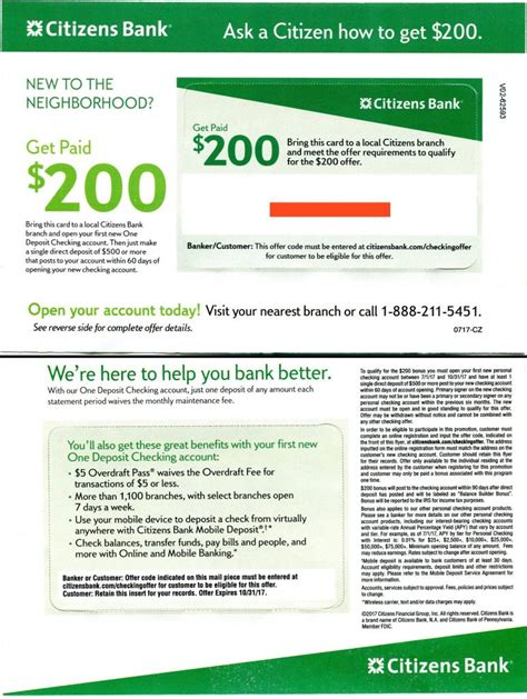 open a new bank account offers expired citizens bank 200 checking bonus targeted