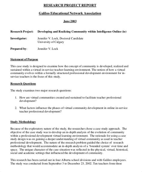 research project report sle research project report 9 exles in pdf word