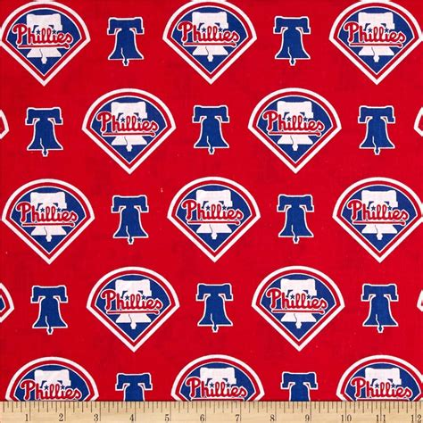 phillies curtains mlb cotton broadcloth philadelphia phillies red blue