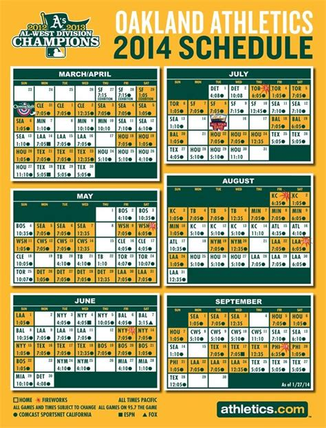 Mba Schedule Western by Oakland Athletics 2014 Schedule Baseball