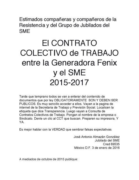 contrato colectivo docente 2015 al 2017 newhairstylesformen2014com el cct entre generadora fenix y el sme 2015 2017 by jose