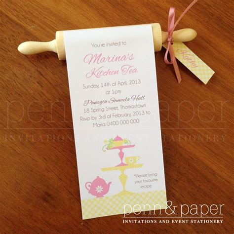 kitchen tea invites ideas rolling pin kitchen tea invitation with guest names