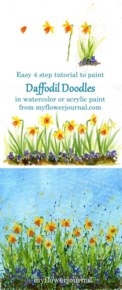 watercolor daffodil tutorial daffodil doodles in 4 easy steps my flower journal