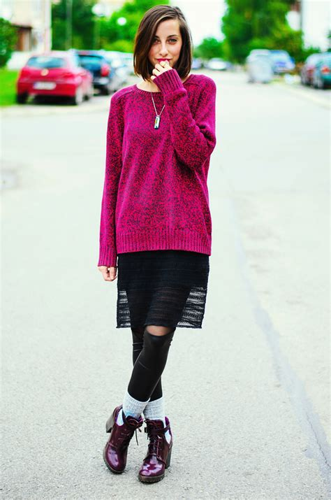 Secondsign Sweater Pink melange pink sweater purple boots