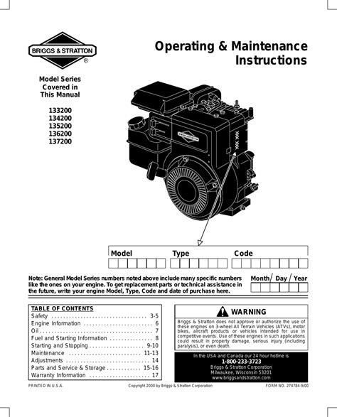 Briggs Amp Stratton 135200 User Manual 20 Pages Also For