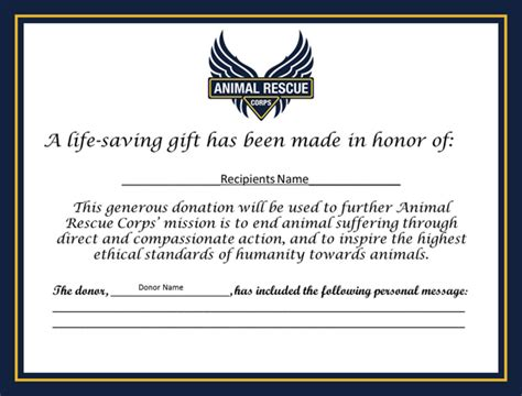 Certificate Giving Letter Give The Gift Of Compassion Animal Rescue Corps