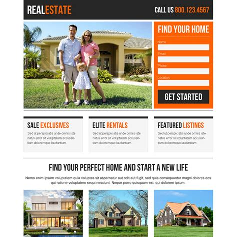 Real Estate Landing Page Design Templates For Real Estate Agents And Broker Business Conversion Best Real Estate Landing Page Templates