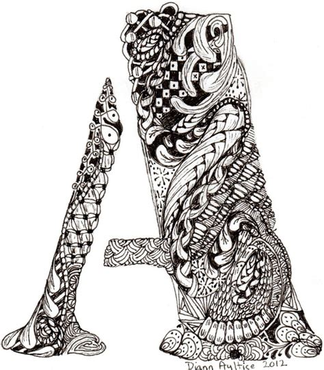 zentangle pattern letters a for abby zentangle letters pinterest amber girls