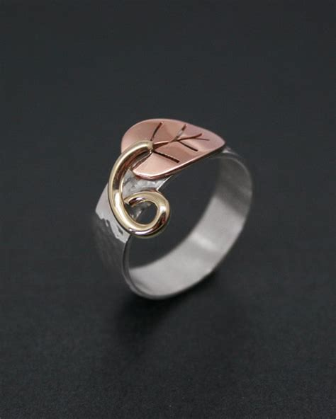 Handmade Rings Uk - handmade silver and copper leaf ring starboard jewellery
