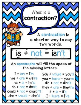 Printable Contraction Poster | contractions poster by andrea morgan teachers pay teachers