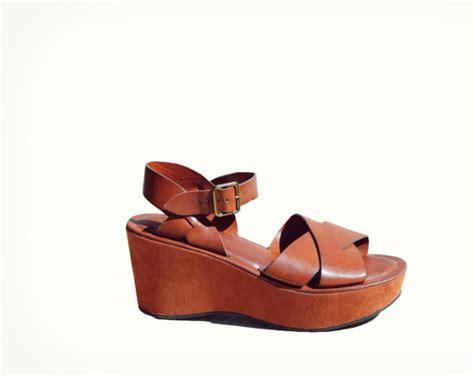 90s brown platform chunky heel ankle sandals brown