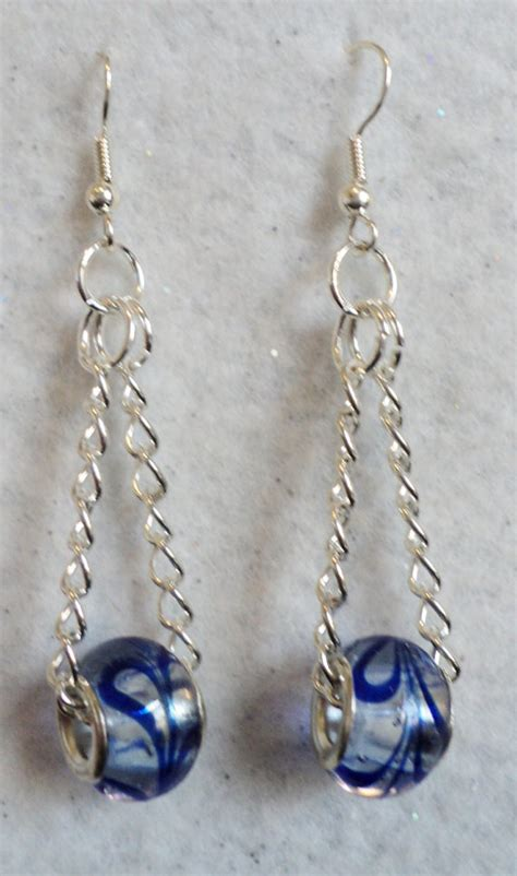 how to make glass bead earrings dangle earrings european lwork glass blue swirl