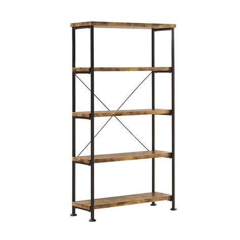 coaster barritt 4 shelf bookcase in antique nutmeg 801542
