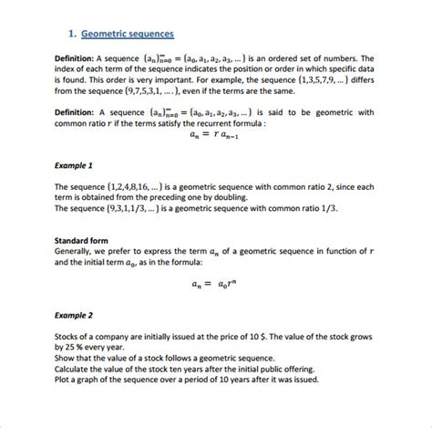template sequence sle geometric sequence exle 7 documents in pdf