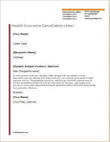 Insurance Letter Health Insurance Cancellation Letter Template Letter Template 2017