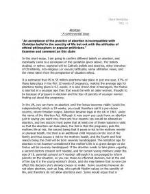 Bioethics Essay by Abortion Essay Ethics